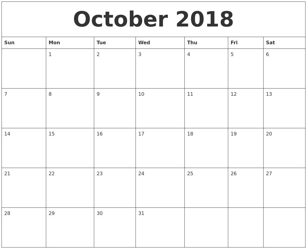 October 2018 Free Monthly Calendar Template
