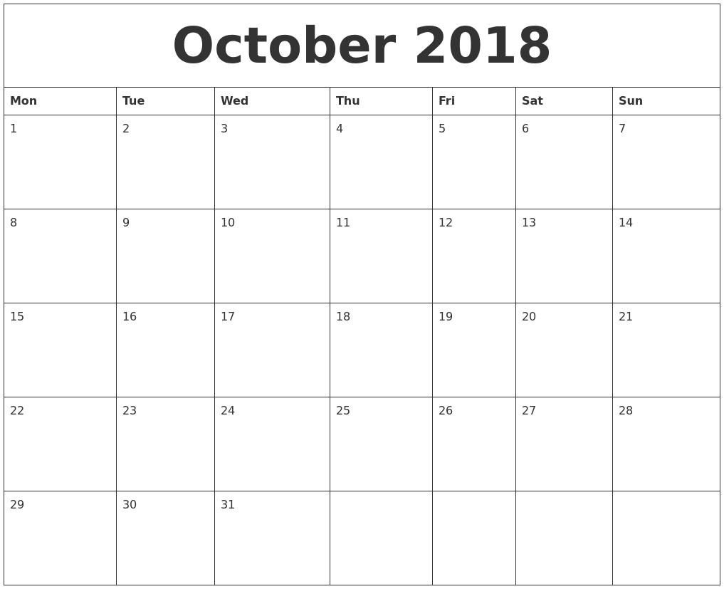 October 2018 Free Weekly Calendar