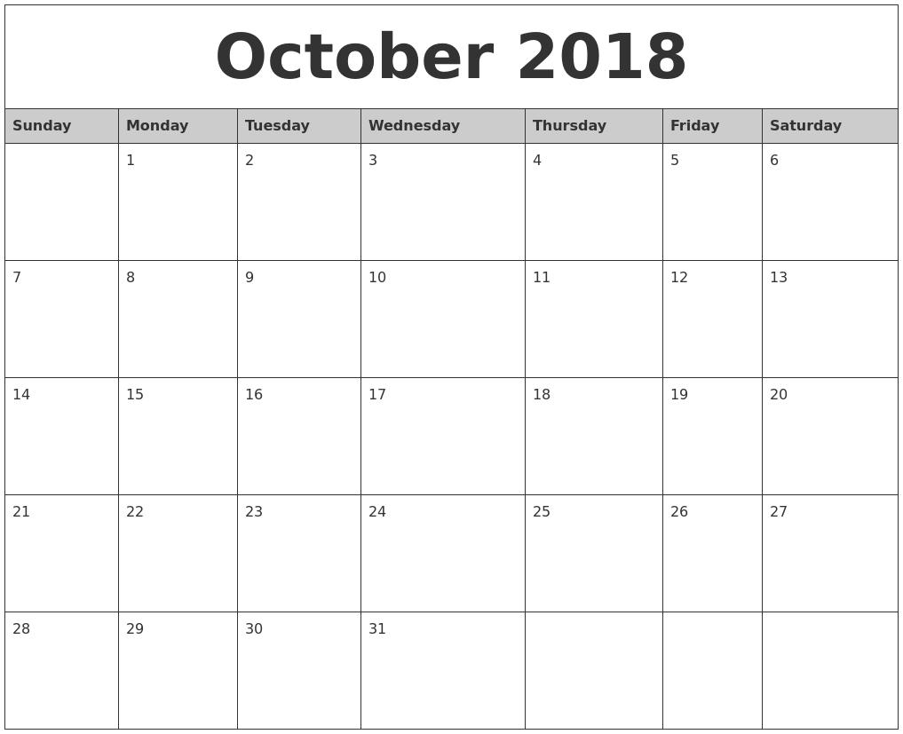 october 2018 monthly calendar printable