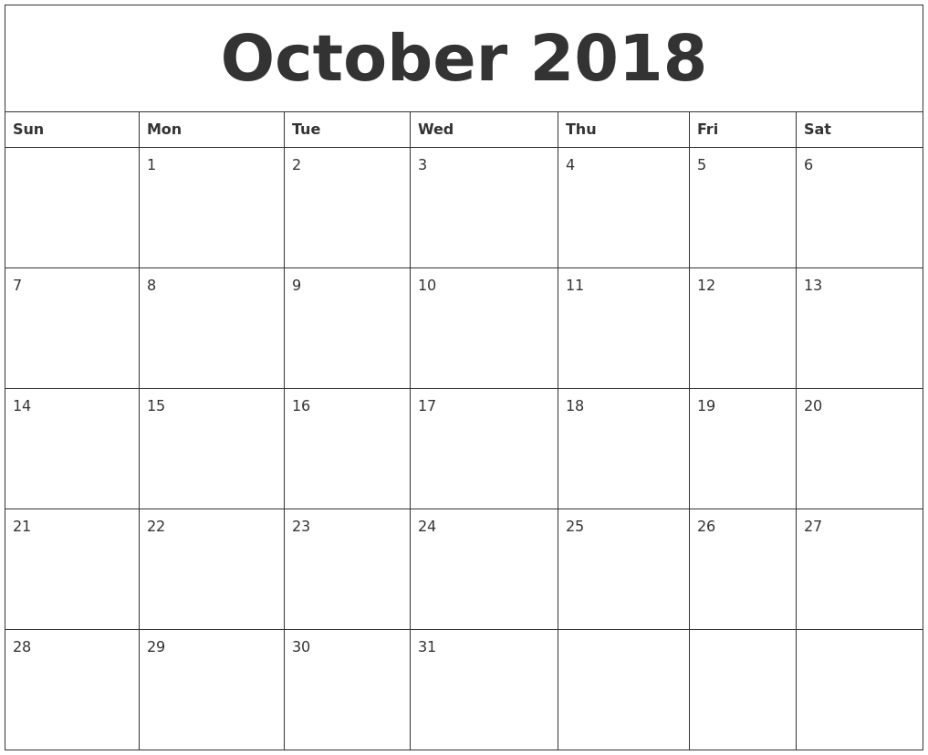 October 2018 Online Printable Calendar