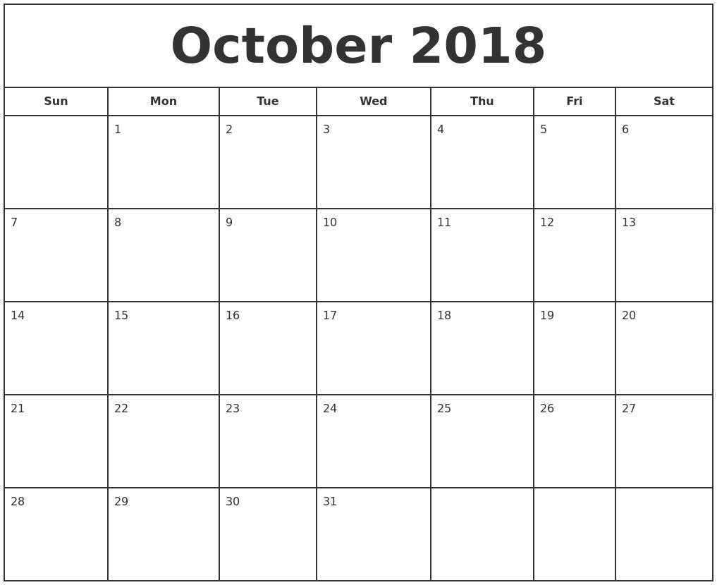october 2018 print free calendar