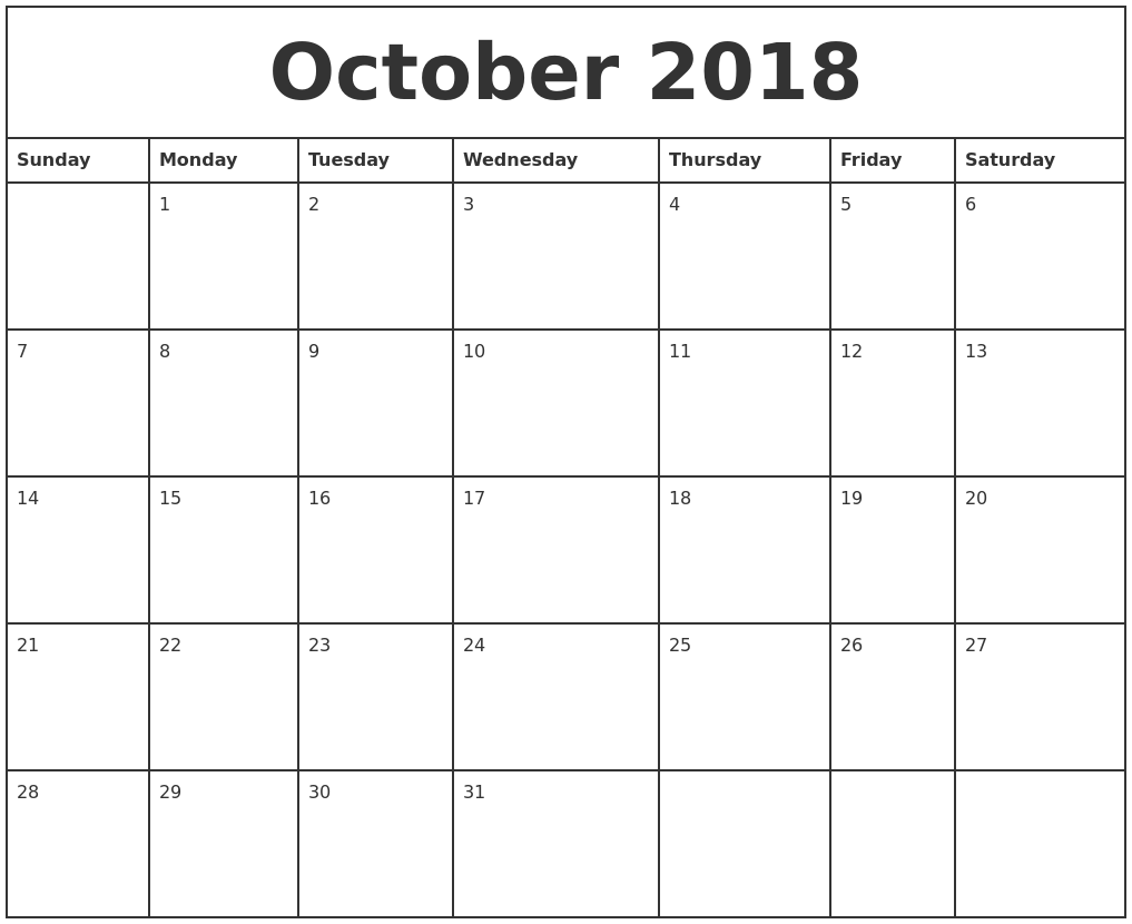 Image result for october 2018 printable calendar