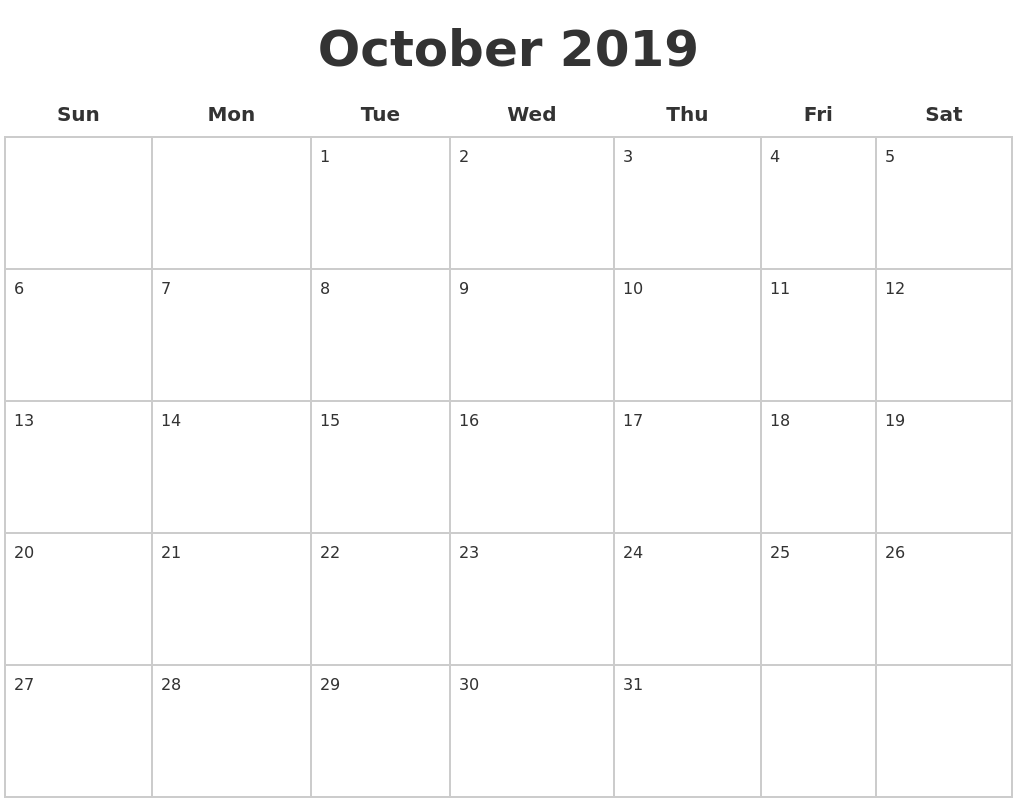 October 2019 Blank Calendar Pages