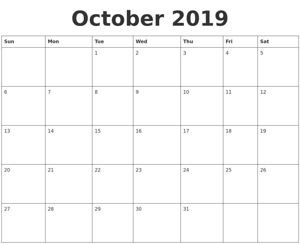 blank calendar december 2018