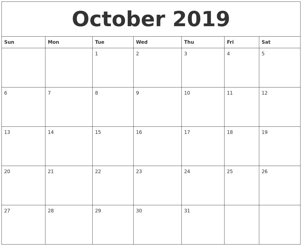 october 2019 blank calendar to print