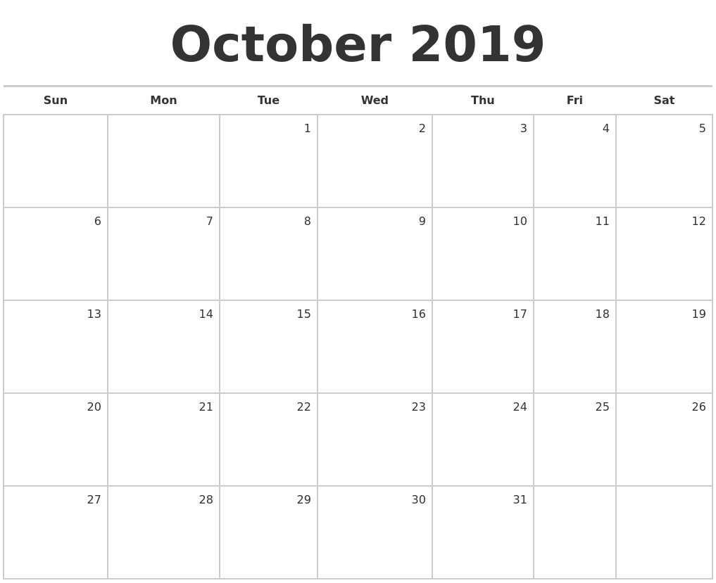 August 2019 Monthly Calendar Template