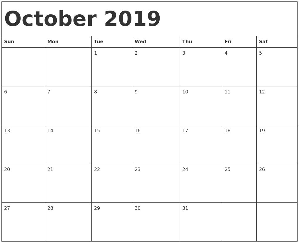 October Calendar 2019.October 2019 Calendar Template