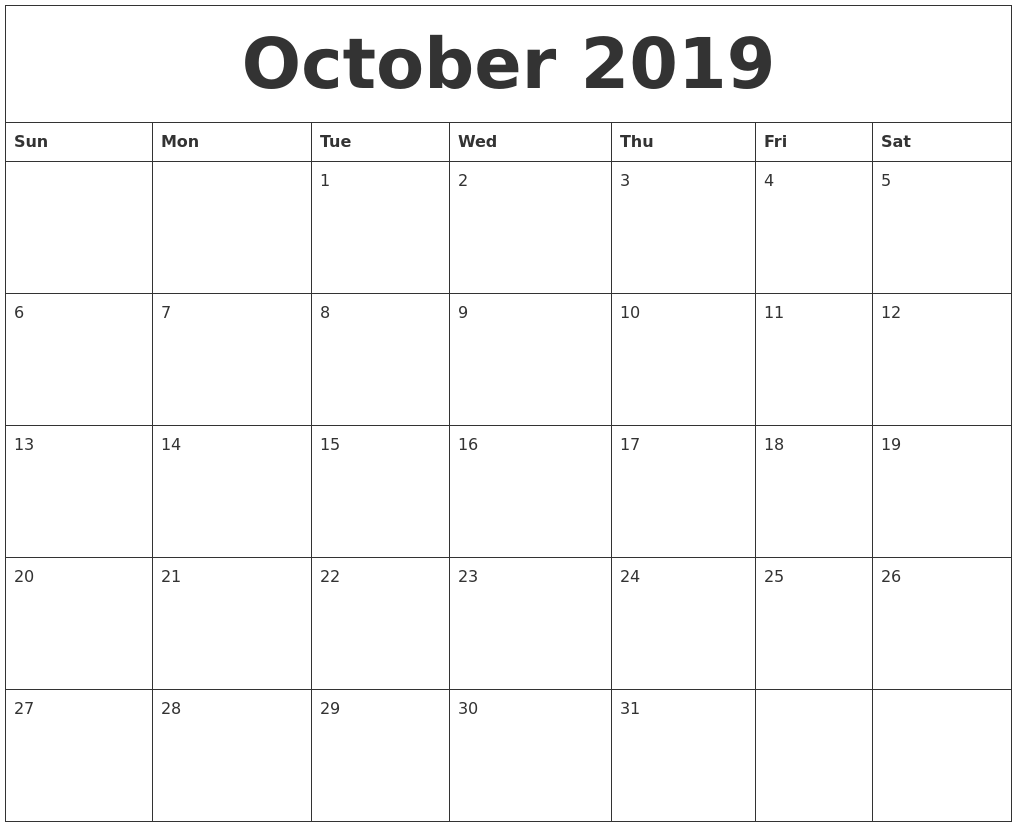 photograph about Printable Oct Calendar titled Oct 2019 Calendar