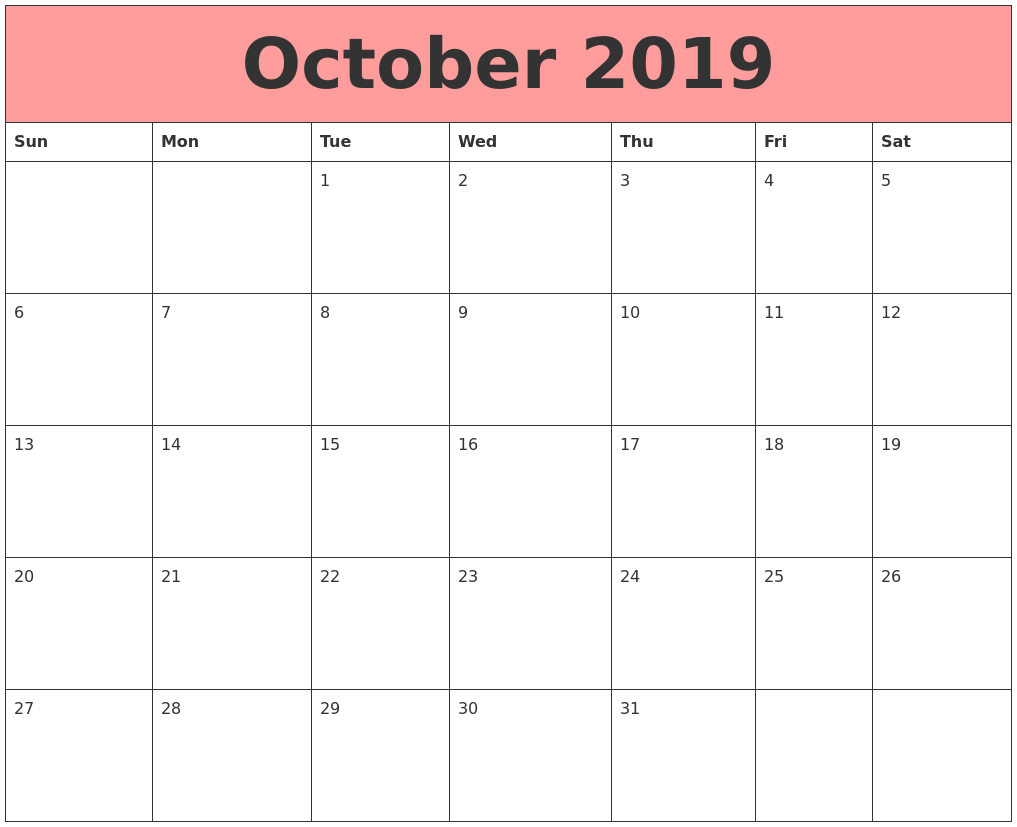 October 2019 Calendars That Work