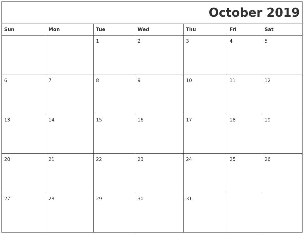 October 2019 Download Calendar