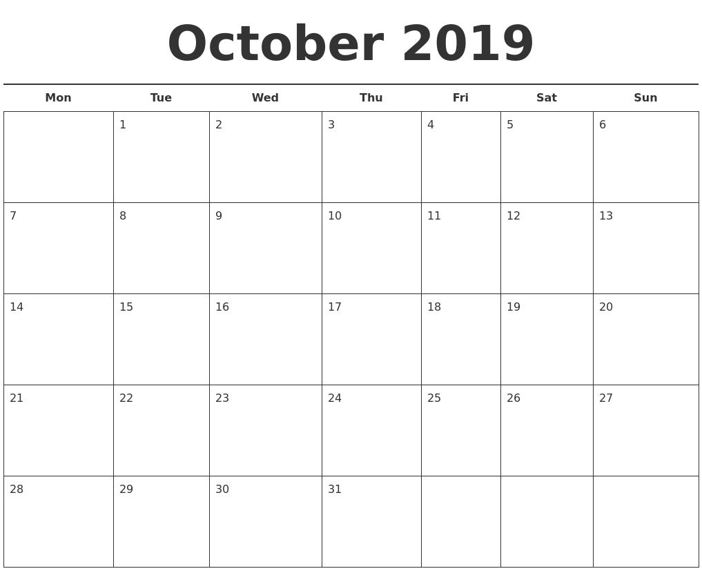 October 2019 Free Calendar Template