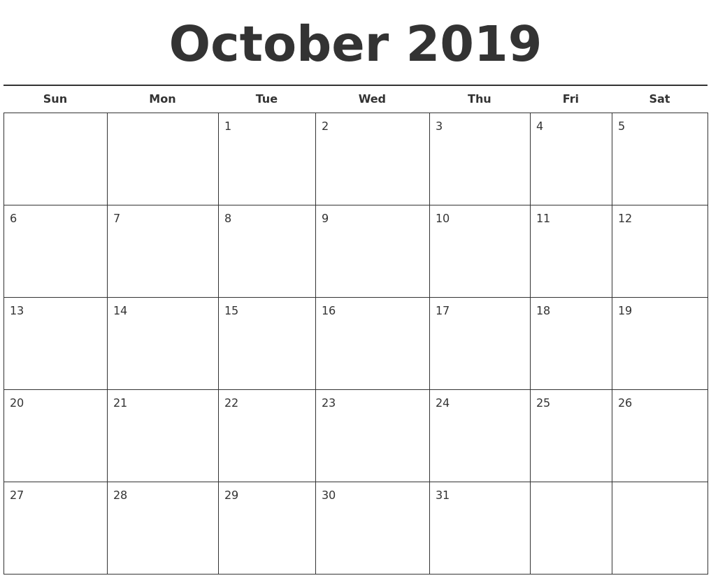 Printable Calendar September 2019 To August 2019