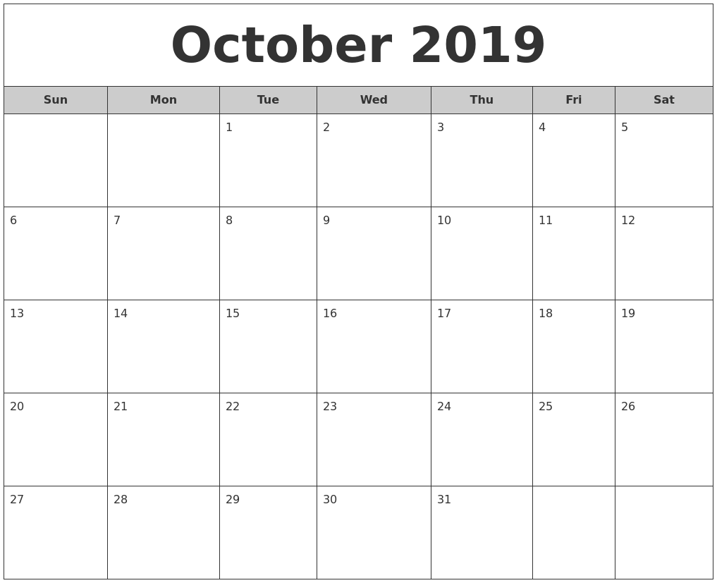 October 2019 Free Monthly Calendar