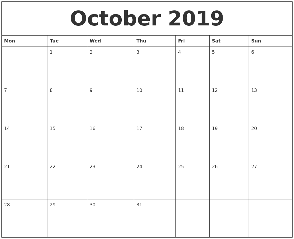 october 2019 free monthly printable calendar