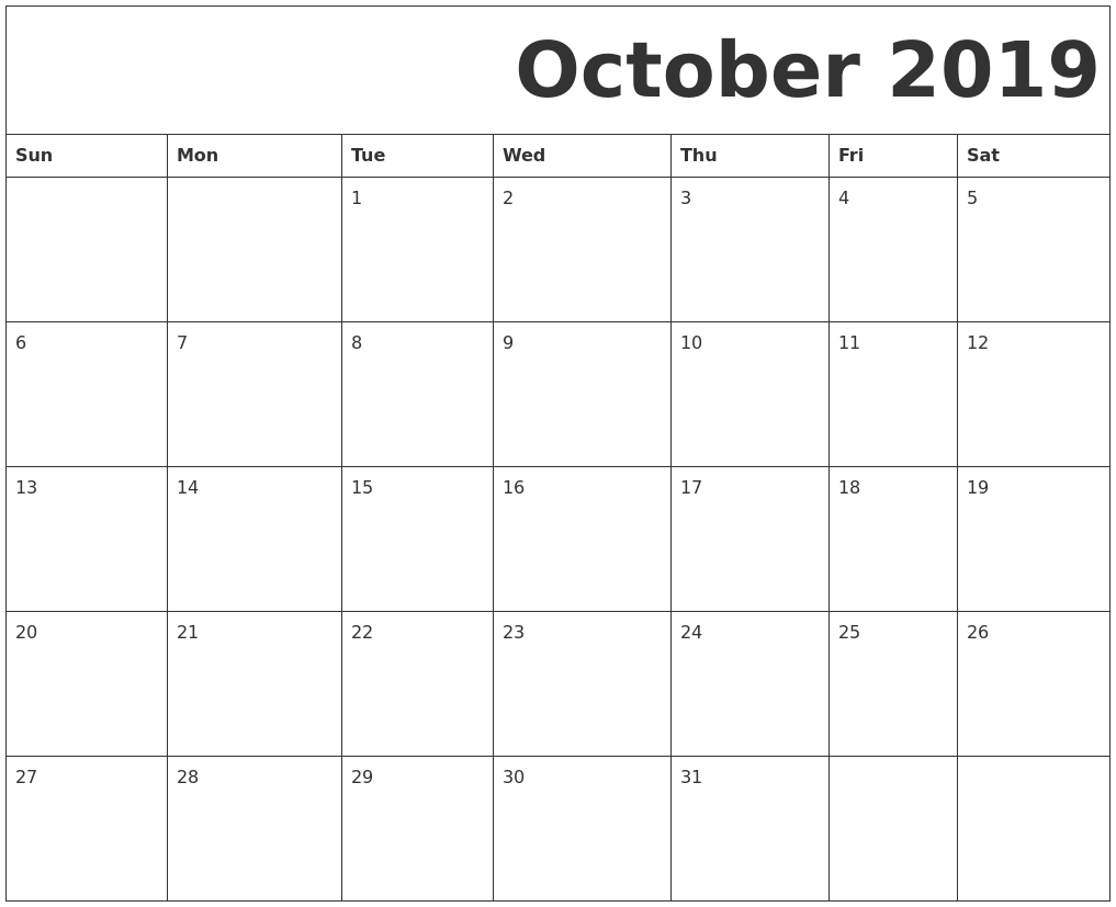 picture relating to Printable Calendar October titled Oct 2019 Totally free Printable Calendar