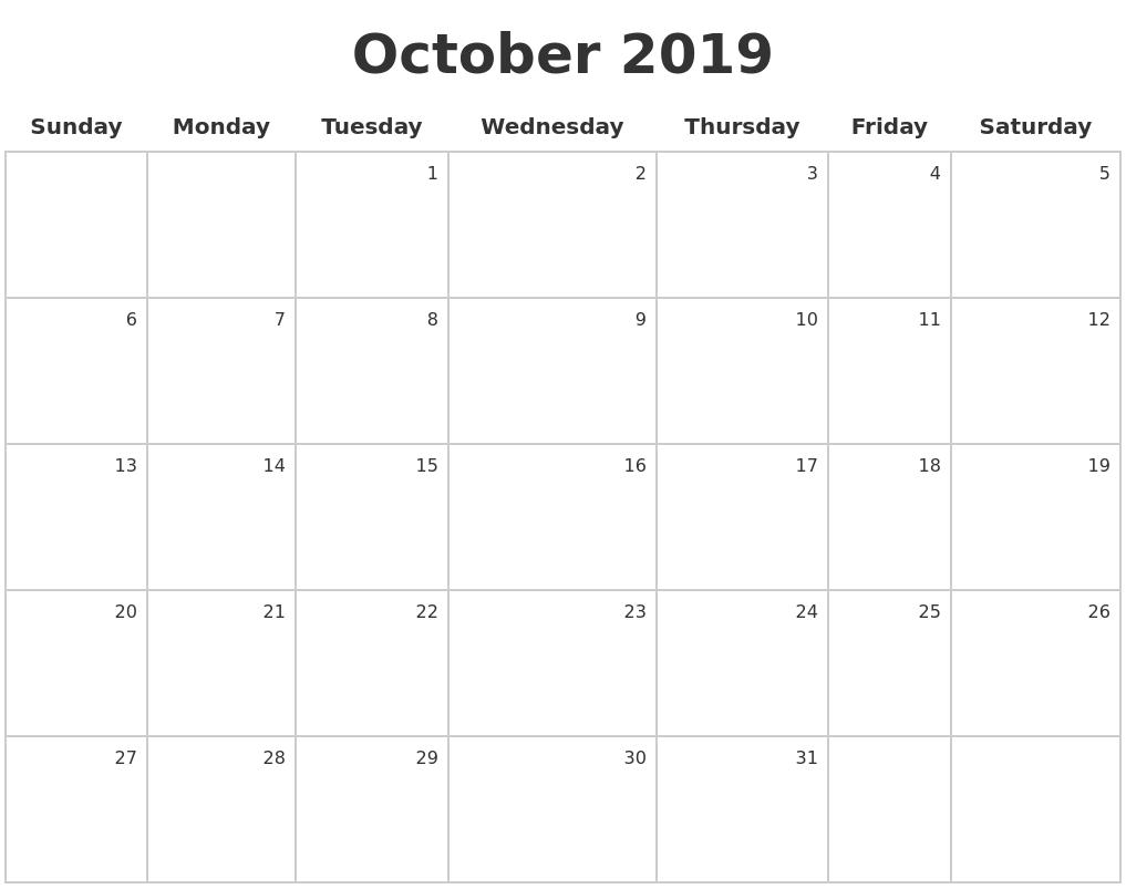 october 2019 make a calendar
