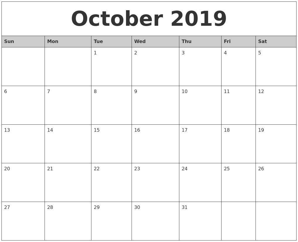 October 2019 Monthly Calendar Printable