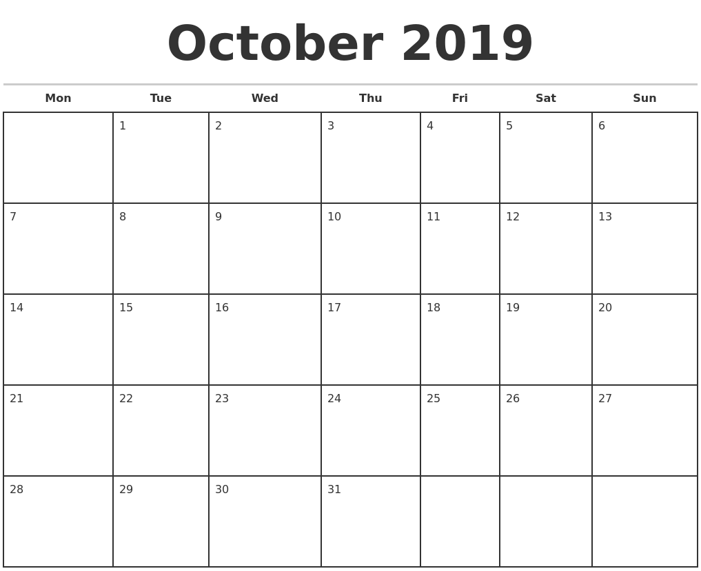 October 2019 Monthly Calendar Template
