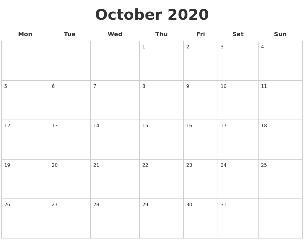 October 2020 Blank Calendar Pages