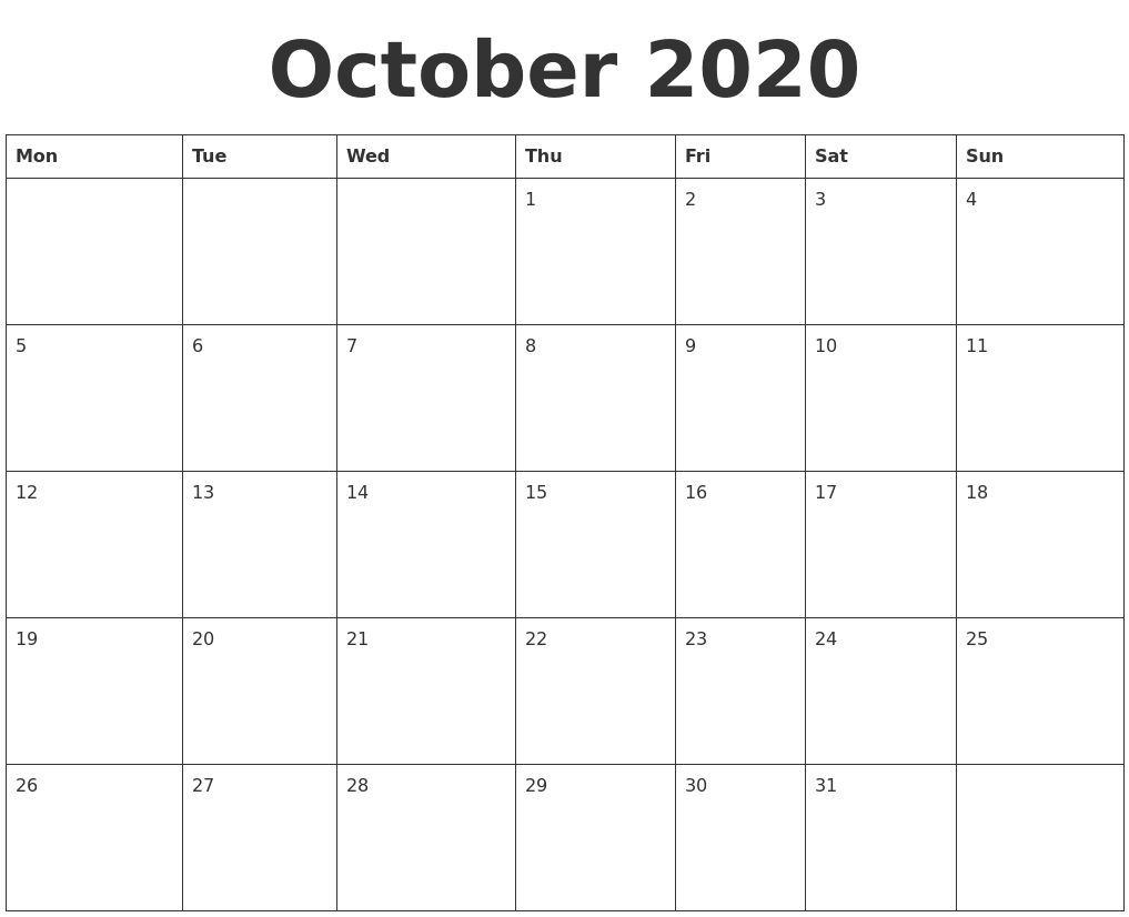 It's just a picture of Genius Free Printable October 2020 Calendars