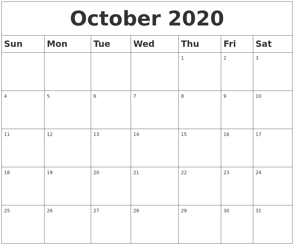 It is a photo of Sizzling Free Printable October 2020 Calendars