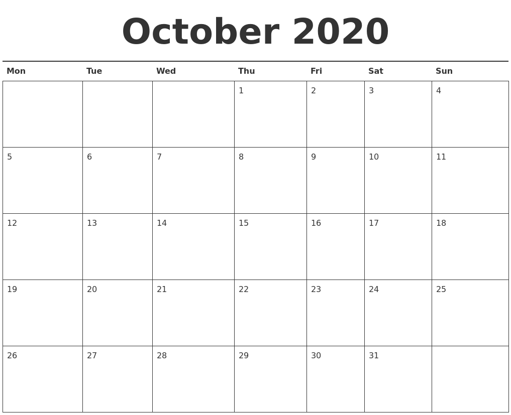 It is a photo of Adaptable Free Printable October 2020 Calendars