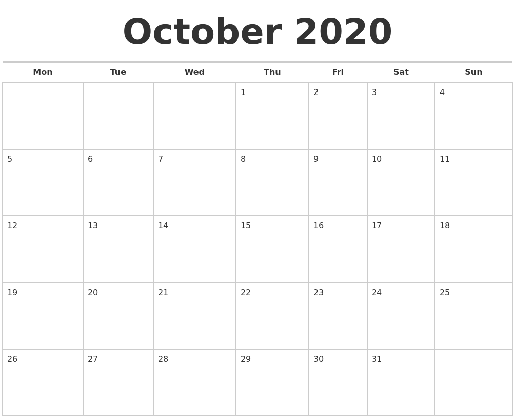 It's just a picture of Unforgettable October 2020 Printable