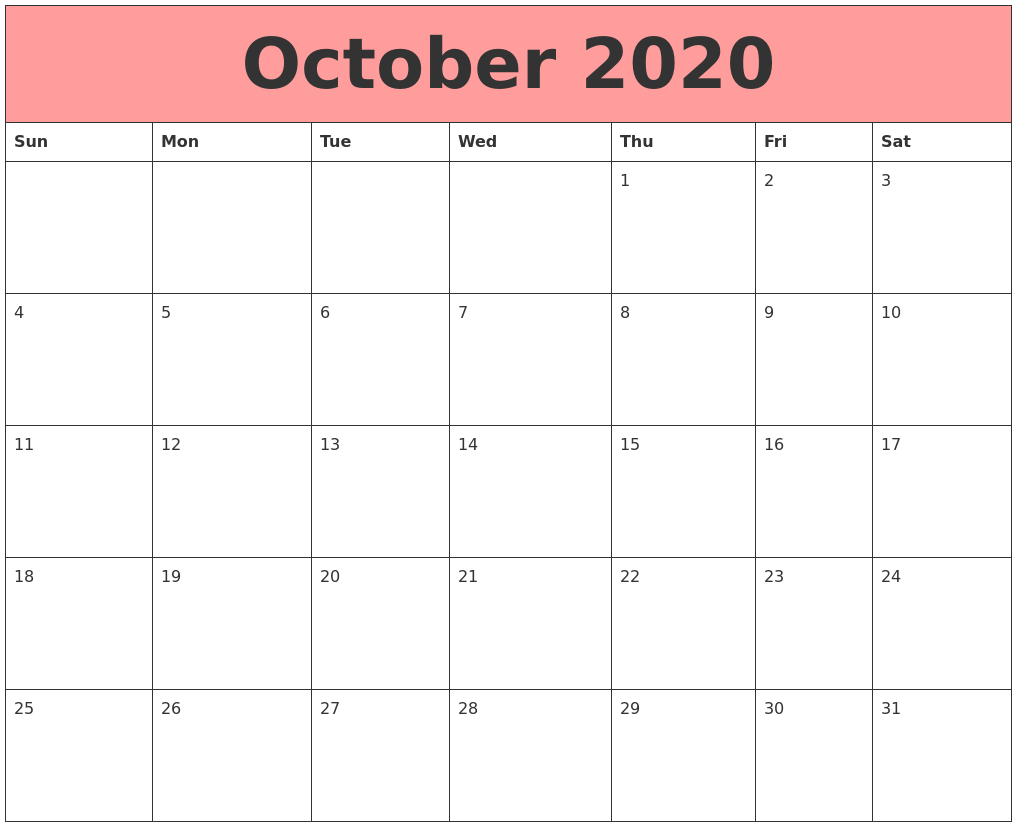 October 2020 Calendars That Work