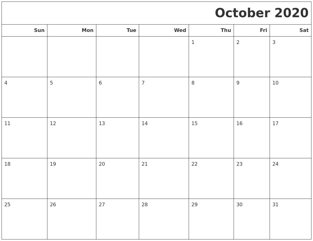 October 2020 Calendars To Print