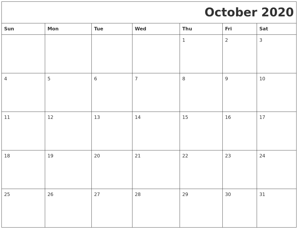 October 2020 Download Calendar