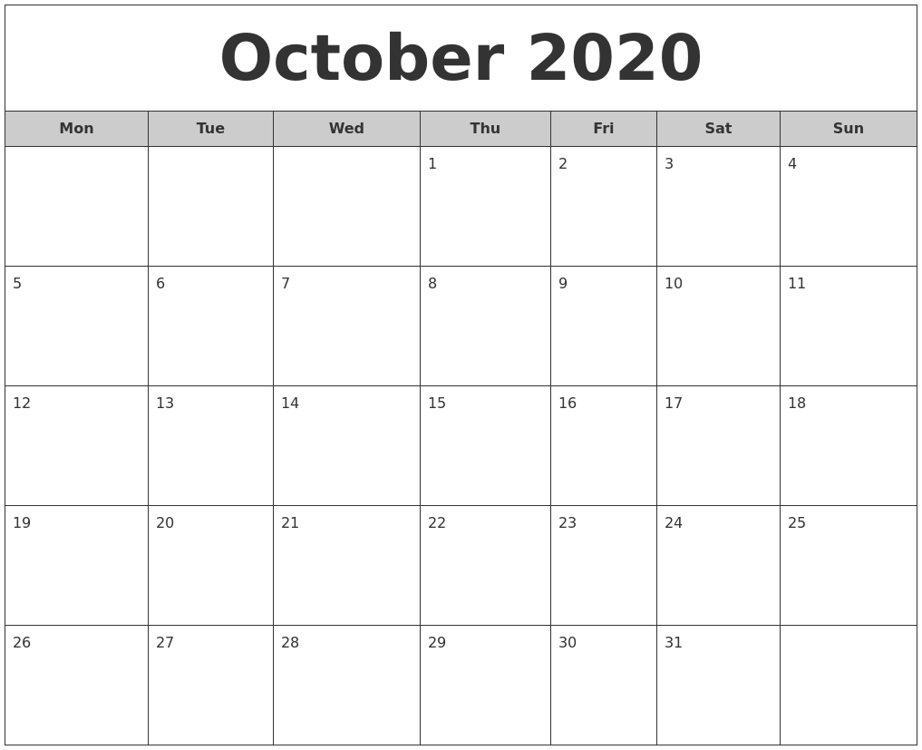October 2020 Free Monthly Calendar