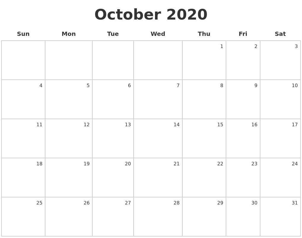 It's just an image of Versatile Free Printable October 2020 Calendars