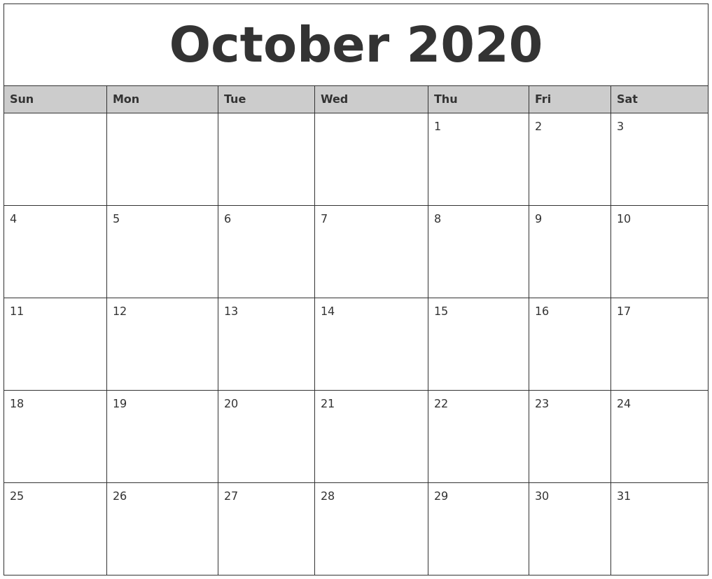 October 2020 Monthly Calendar Printable