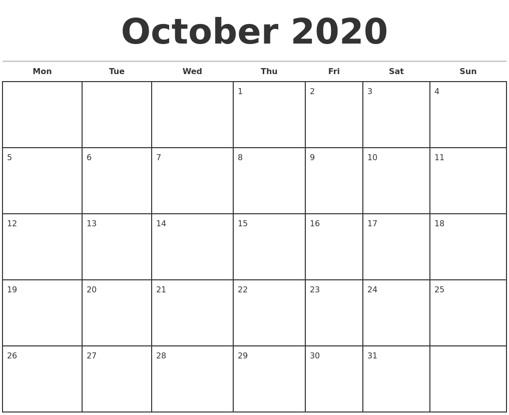 October 2020 Monthly Calendar Template