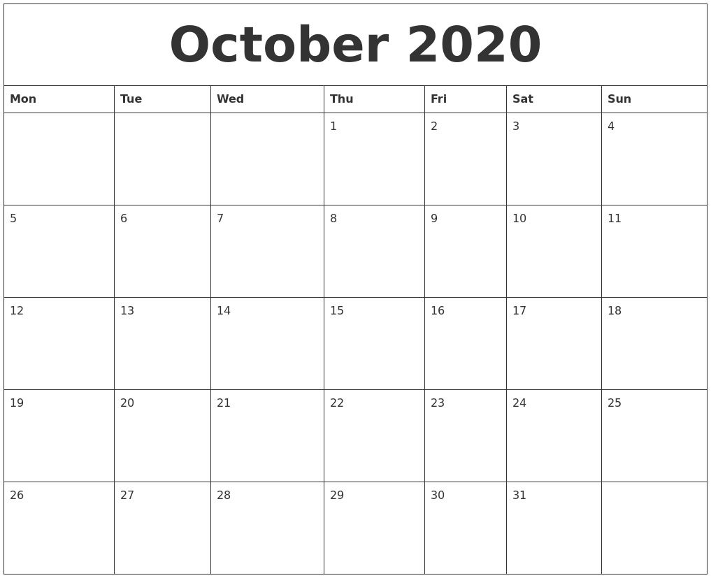 picture about Monthly Printable Calendar known as Oct 2020 Regular monthly Printable Calendar