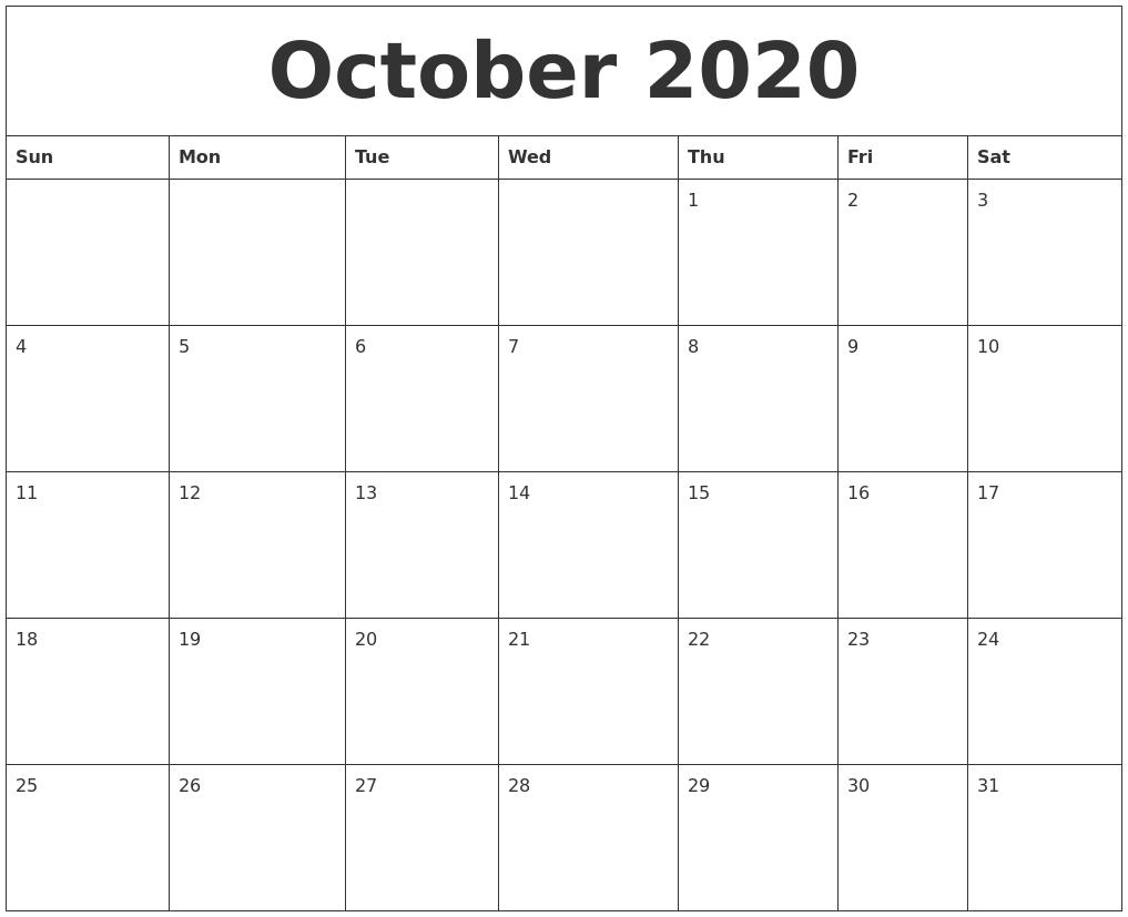 October 2020 Printable Calendar.October 2020 Monthly Printable Calendar