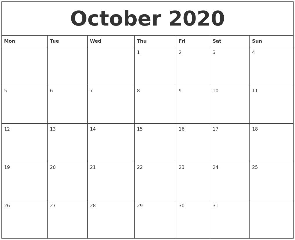 Calendar Pages October : October printable calendar pages