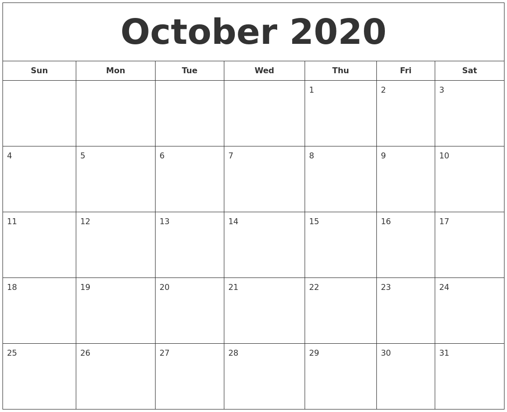 Calendar October 2020 Printable.October 2020 Printable Calendar