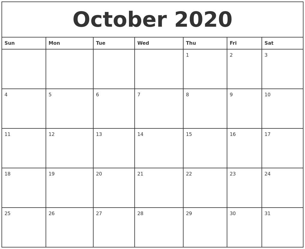 October 2020 Printable Monthly Calendar