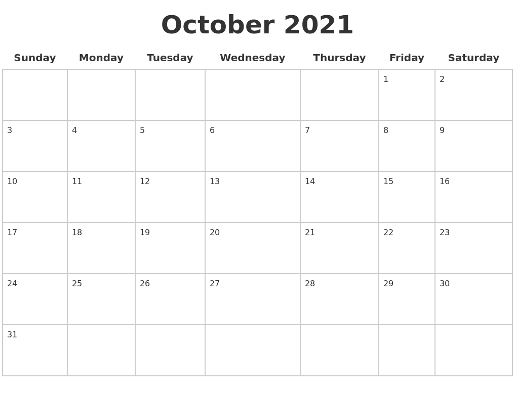 October 2021 Blank Calendar Pages PDF's