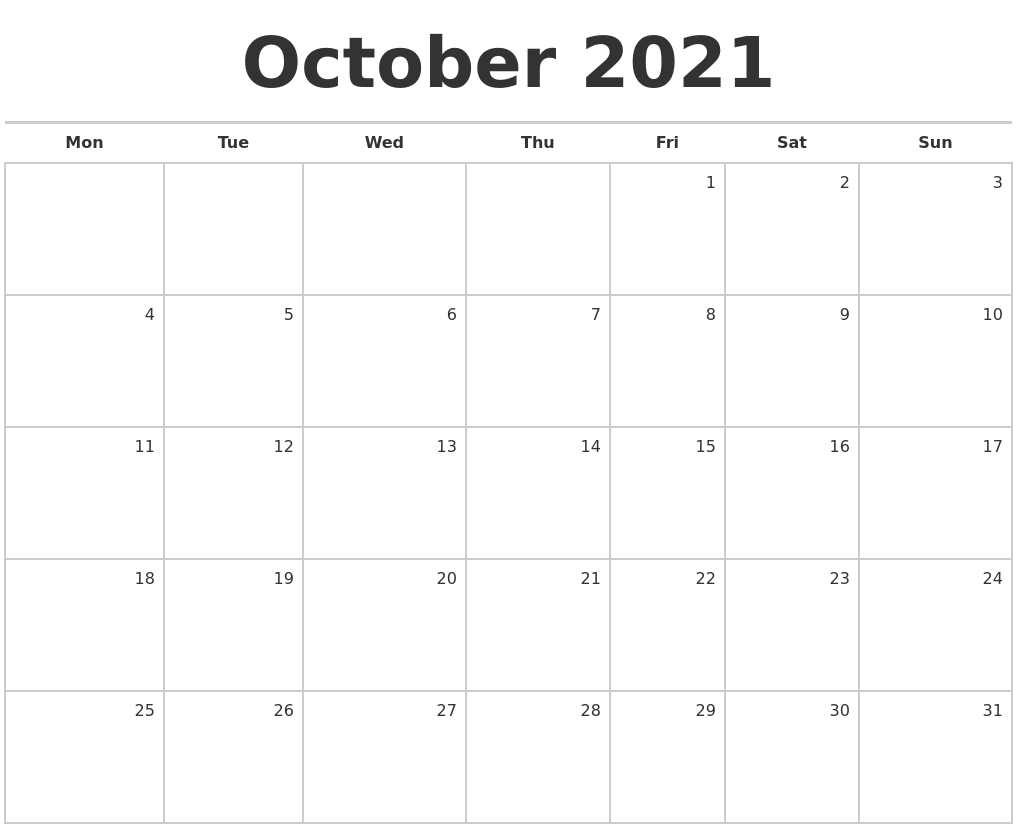 October 2021 Blank Monthly Calendar