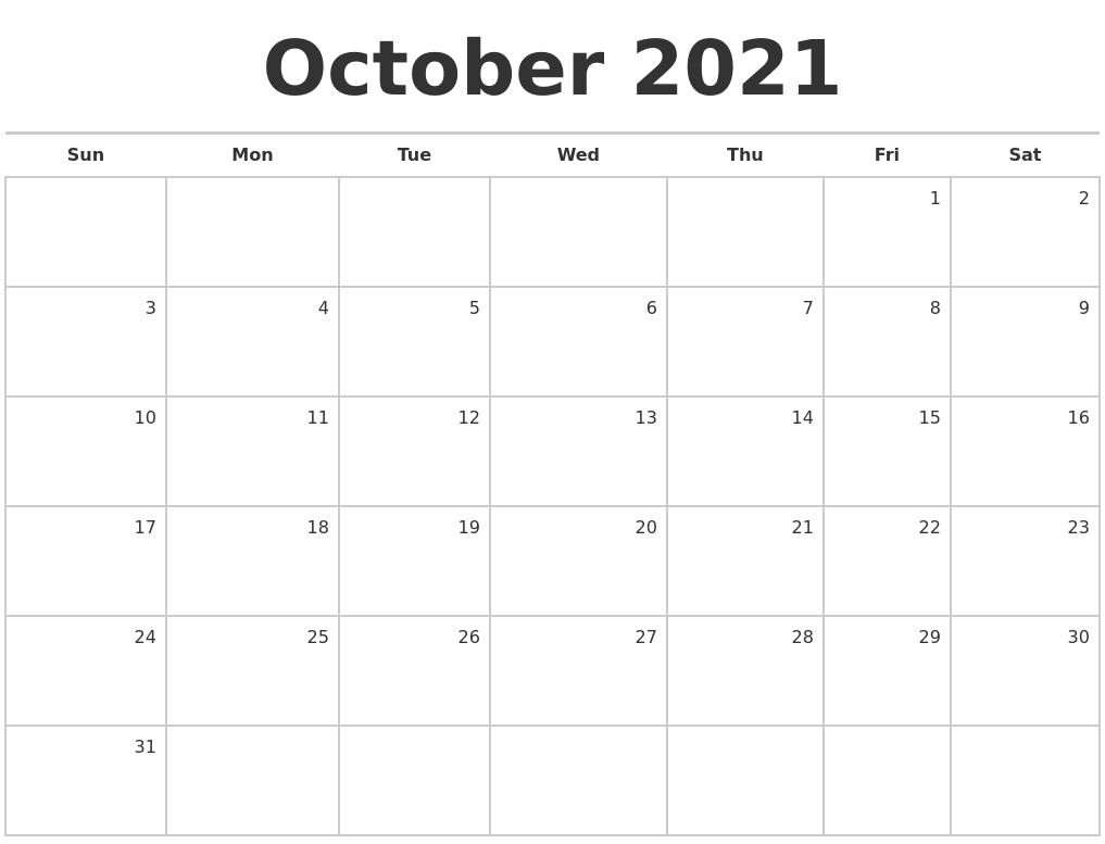 October 2021 Blank Monthly Calendar