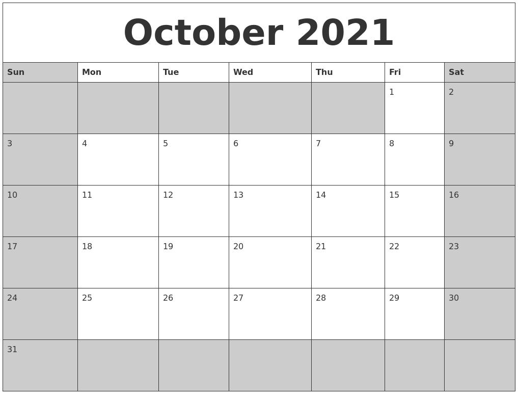 October 2021 Calanders