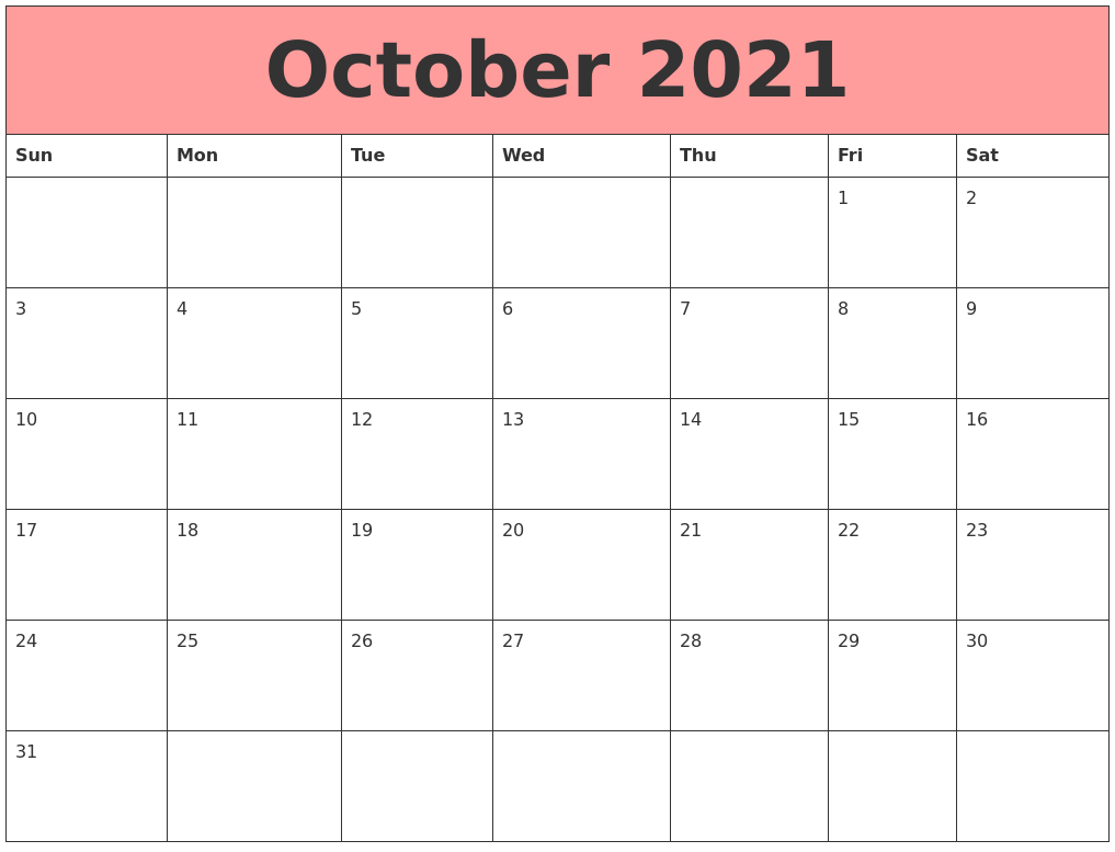 October 2021 Calendars That Work