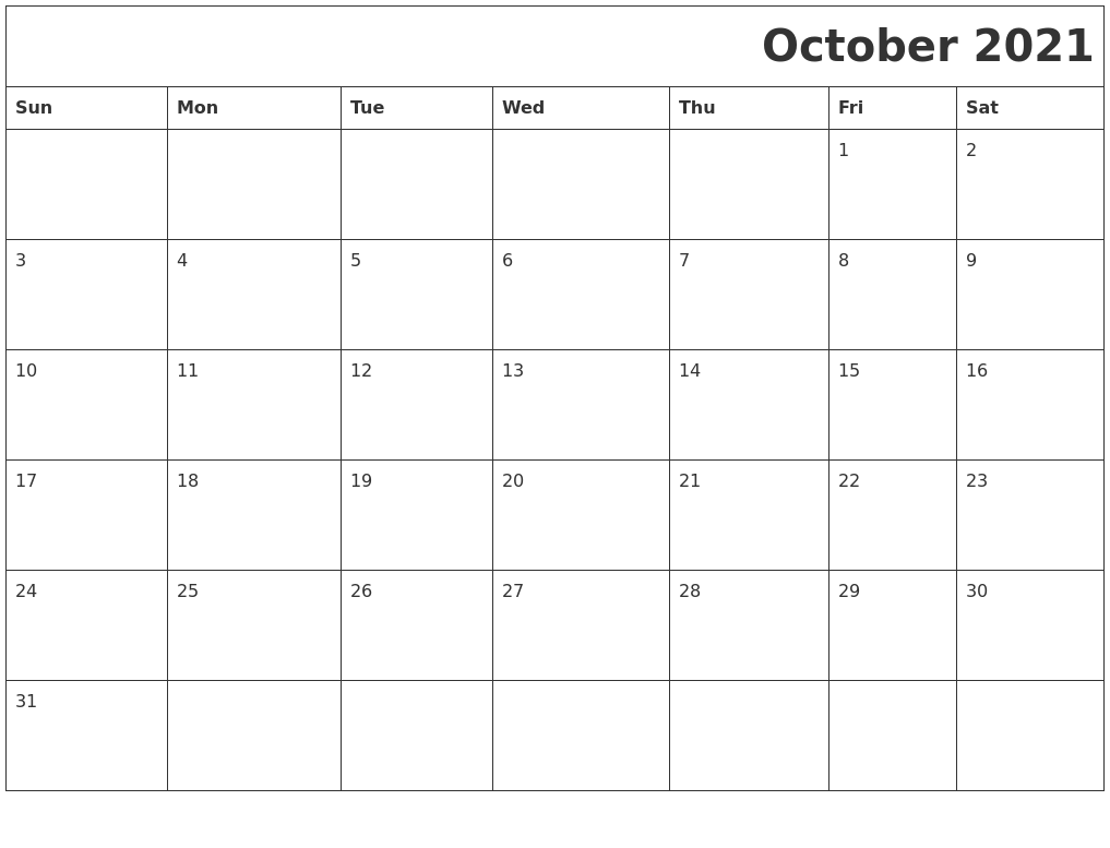 October 2021 Download Calendar