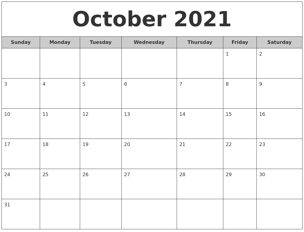 October 2021 Free Monthly Calendar