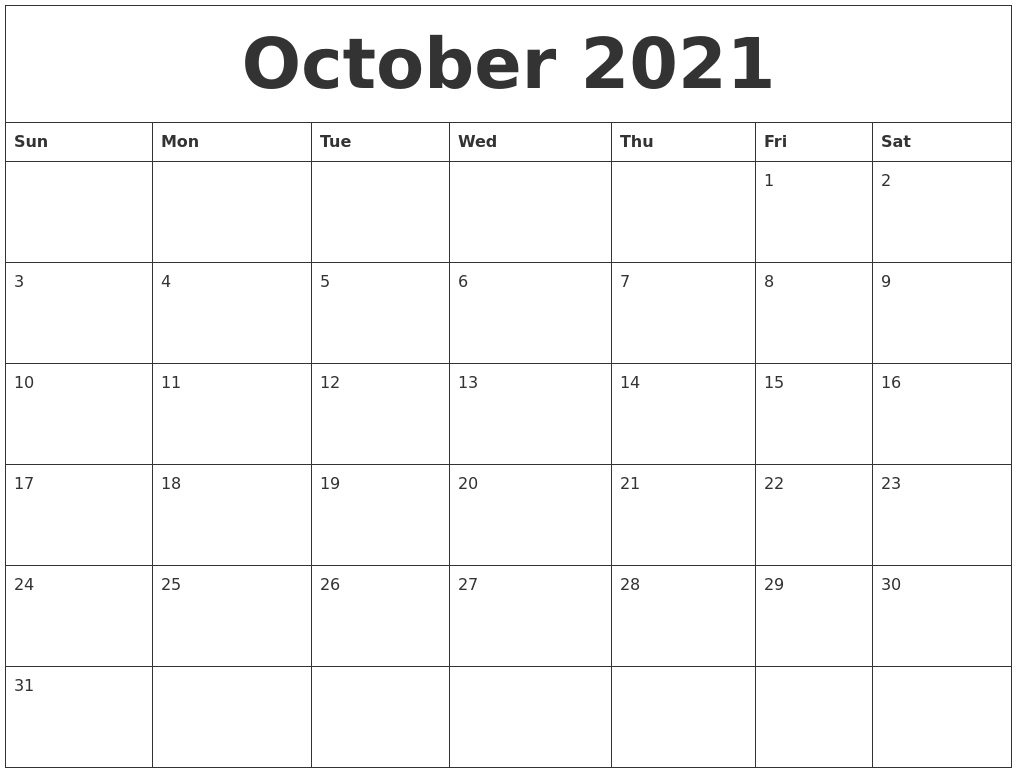 October 2021 Free Printable Monthly Calendar