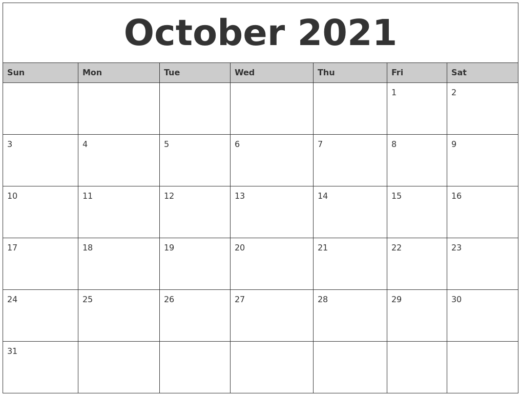 October 2021 Monthly Calendar Printable