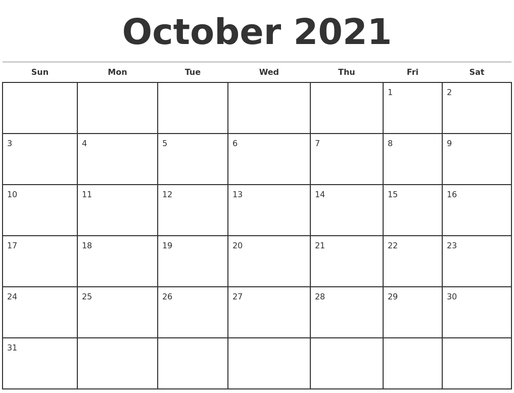 October 2021 Monthly Calendar Template