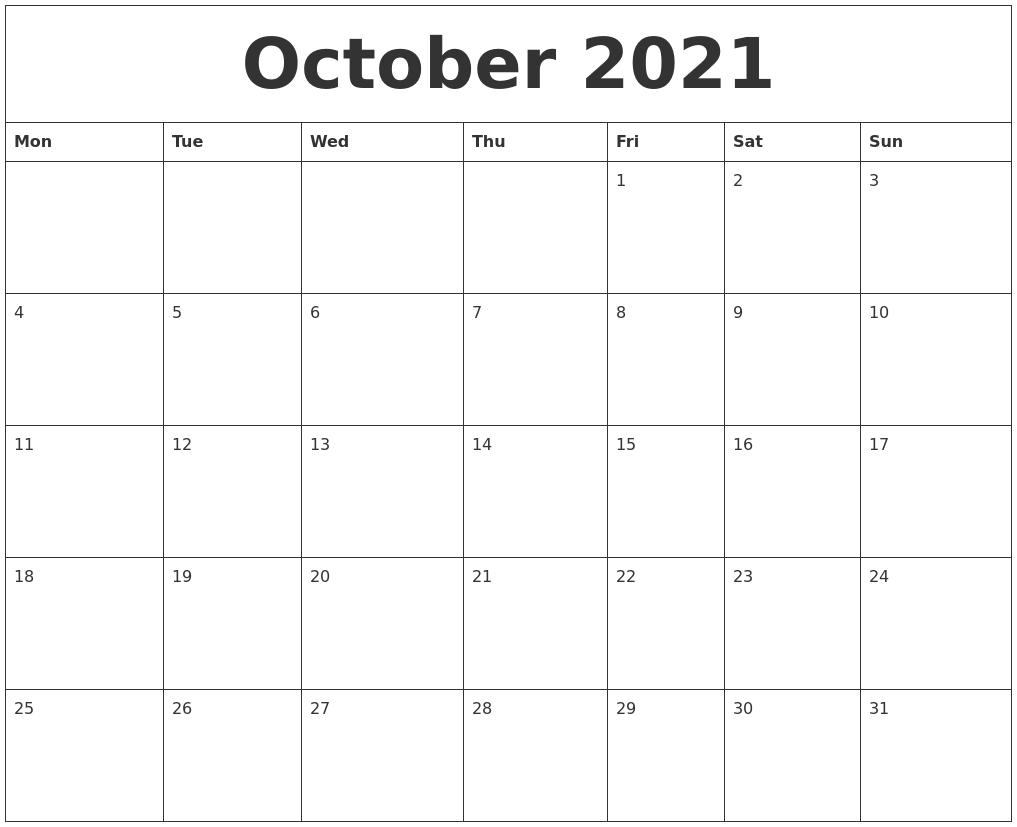 October 2021 Printable Calendar Pdf